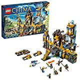 Lego Year 2013 ''Legends of Chima'' Series Building Set #70010 - THE LION OF CHI TEMPLE with CHI Orb and Waterfall, Combined Lion Gate and Drawbridge Trap, 2 Lion Claw Bikes, Reptile Raider and Eagle Drone Fighter Plus 7 Minifigures: Lagravis, Laval, Longto