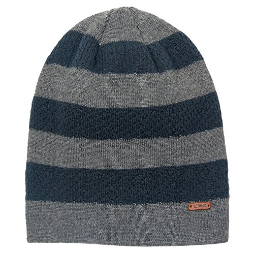 LETHMIK Stripe Knit Skull Beanie Warm Winter Hat Unisex Acrylic Cap Linen Grey