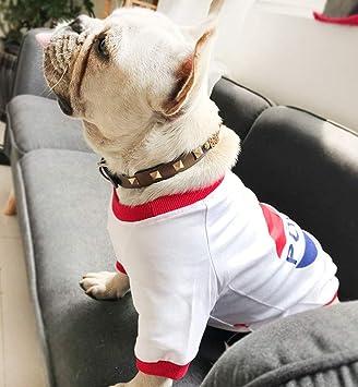 Lamzoom - Conjunto de Collares para Mascotas con Remaches y Pinchos, Collar de Piel Suave y auténtica para Perro, Gato, Collar Ajustable con Hebilla: ...