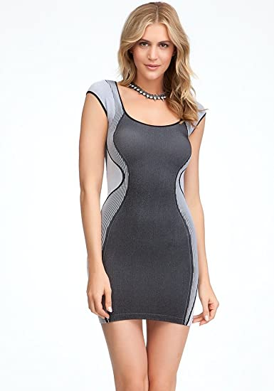 Bebe Contour Ribbed Bodycon Dress Tubular Blackwhite Ps At Amazon