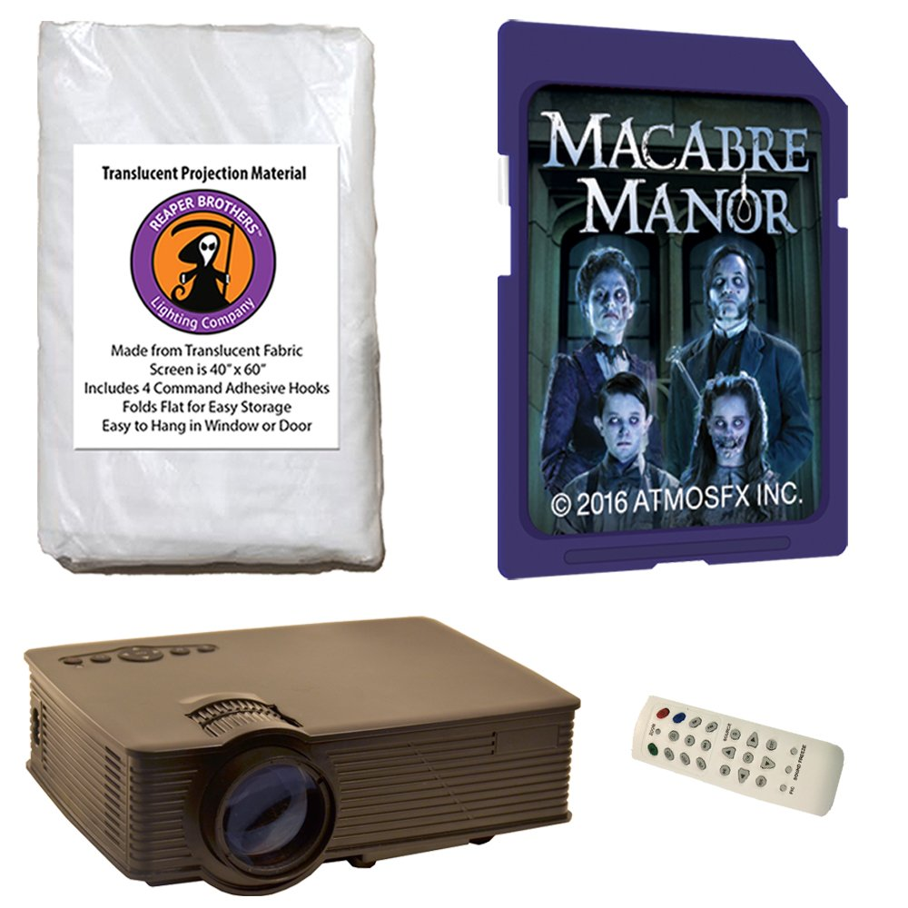 AtmosFearFx Macabre Manor SD Card Projector Kit with 1900 Lumen LED Video Projector, 40'' x 60'' Reaper Brothers High Resolution Window Rear Projection Screen and AtmosFearFX Macabre Manor SD Card