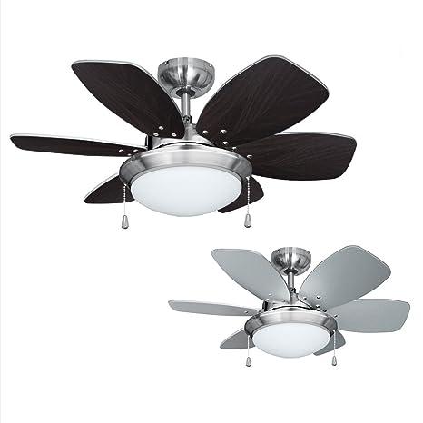 MiniSun - Ventilador de techo con luz, faro de diseño - para frío y calor - 6 aspas reversibles plateadas y madera