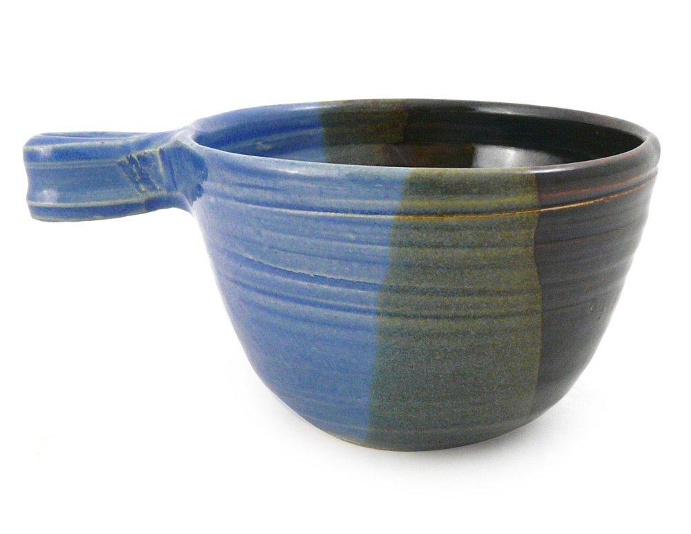 American Made Stoneware Pottery French Onion Soup Bowl, 16-oz, Lakeside Blue