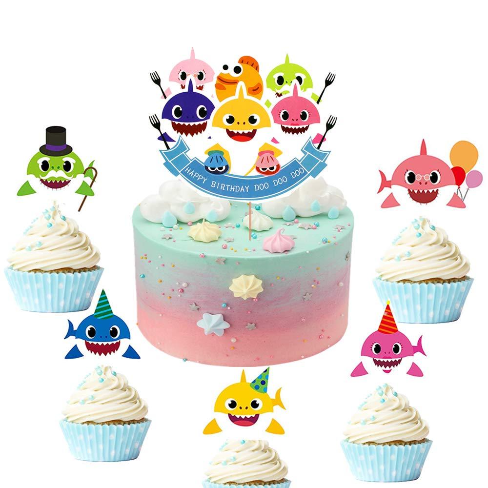 JeVenis 25 piezas tibur/ón Cupcake Toppers Tibur/ón Tema Fiesta Suministros Familia Tibur/ón Baby Shower Cumplea/ños Fiesta Decoraciones