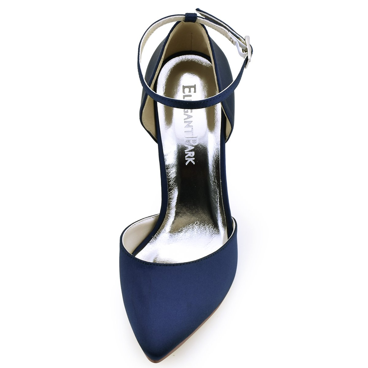 ElegantPark ElegantPark ElegantPark HC1602 Donna Satin Scarpe A Punta Cinturino Alla Caviglia Tacco A Spillo Pompe Partito Scarpe Da SposaBlu Marina 4461a5