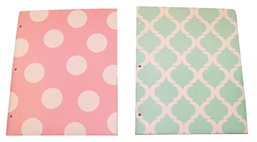 Carolina Pad Studio C Set Of 2 Poly Folders ~ Pattern Play Pink Polka Dot Green And White Design