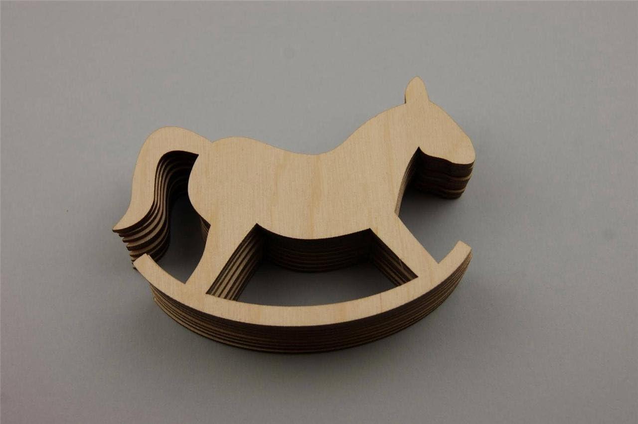 10x Wooden Rocking Horse Room Craft Shapes Blank Shape Art Room Decoration V80