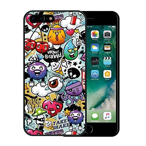 iPhone 8 Plus Hülle, WoowCase Handyhülle Silikon für [ iPhone 8 Plus ] Graffiti Funny Farben Handytasche Handy Cover Case Schutzhülle Flexible TPU - Schwarz