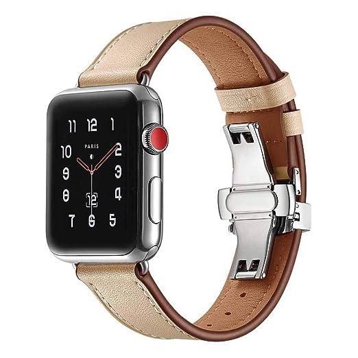JiaMeng Watch Apple Watch 38mm, Reemplazo de PU Cuero Reloj Pulsera Correa Hebilla de Mariposa Correa de Reloj de Cuero Banda(Beige): Amazon.es: Ropa y ...