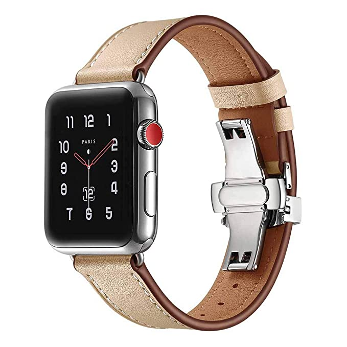 JiaMeng Watch Apple Watch 38mm, Reemplazo de PU Cuero Reloj Pulsera Correa Hebilla de Mariposa