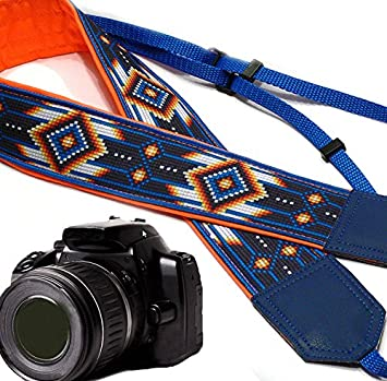 Camera Strap Inspired by Native American Orange Southwestern Ethnic Camera Strap Bright Tribal Camera Strap Durable Light Weight and Well Padded Camera Strap DSLR//SLR Code 00119