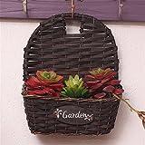 EXDJ Pure Handmade wicker Flower Basket willow flower pot wall hanging flower pot hanging rattan hanging basket wall Decoration,Brown,24x11cm