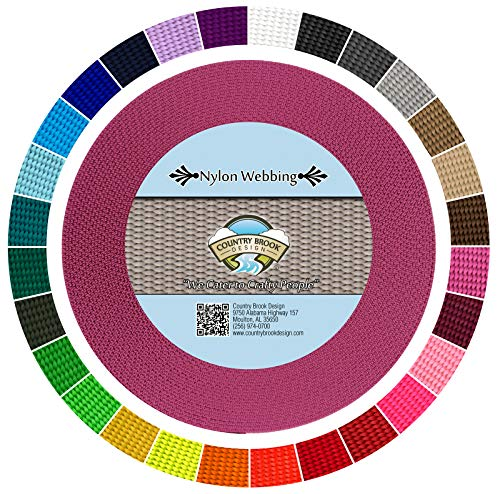 Country Brook Design | Durable 1 Inch Heavy Nylon Webbing | 29 Vibrant Colors (Rose, 10 Yards)
