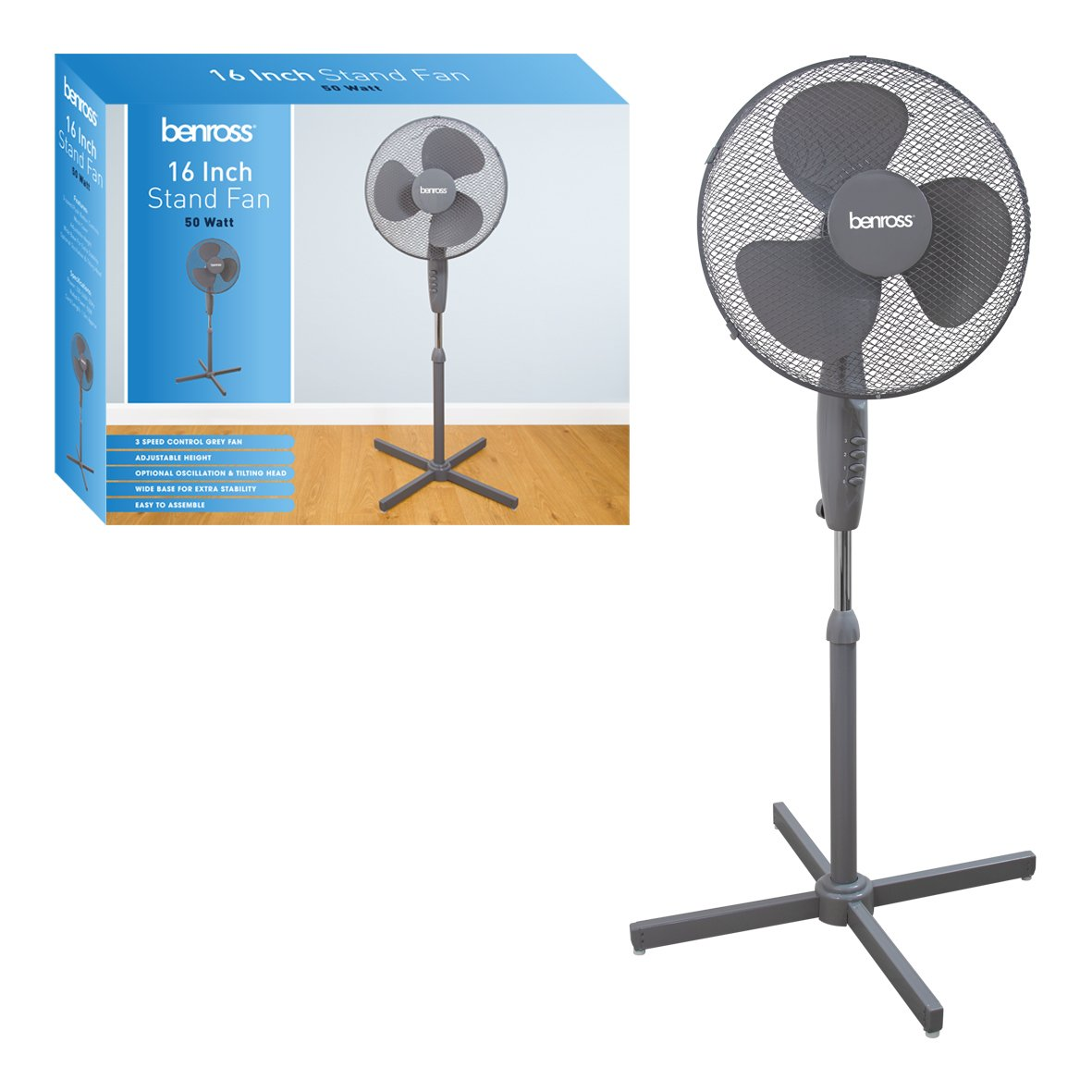 Benross 43840 Adjustable Oscillating 3-Speed Stand Fan, 50 W, Grey Benross Marketing Ltd
