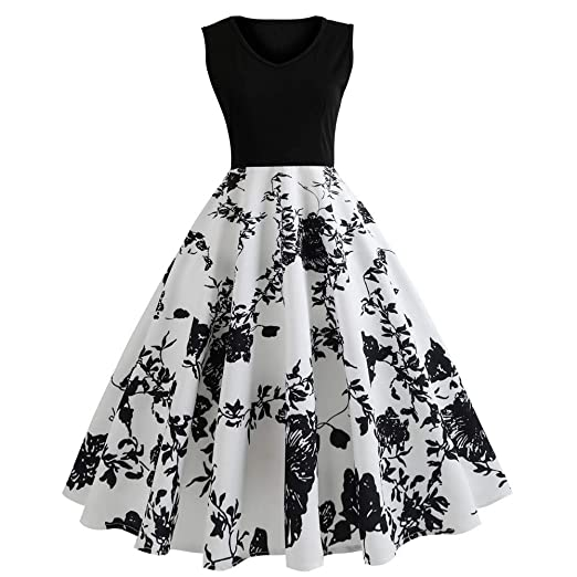 fb126e47d1a28 Vintage Dresses for Women, Retro Sunflower Print Sleeveless Tea Evening  Party Short Dress