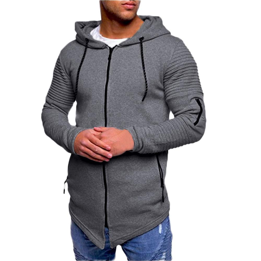 Pius Size Hoodies for Men, Corriee Casual Fall Long Sleeve Sport Hooded Coat Mens Slim Fit Zipper Solid Jacket Outwear