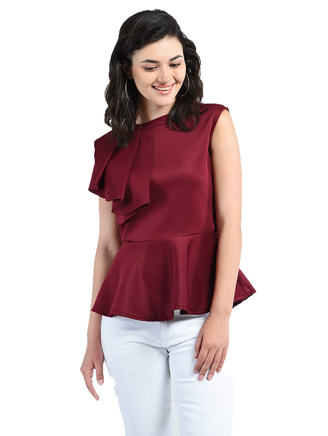 AARA Presents Stylish Maroon Solid Peplum Top/Shirt for Women's & Girl's with Round Neck and Sleeveless Top for Casual and Party Wear 20180008_Maroon