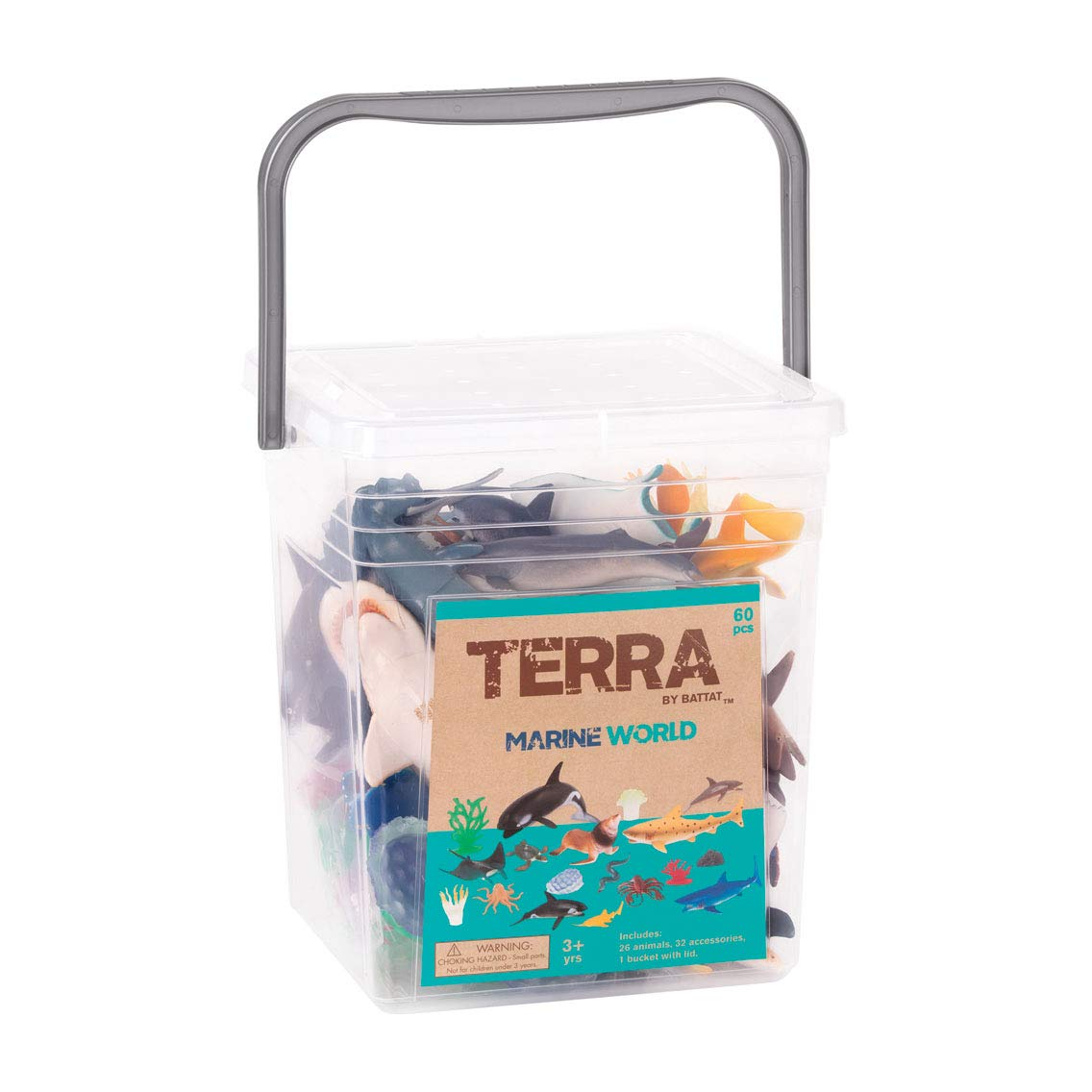 Terra by Battat – Marine World – Assorted Plastic Fish & Sea Creature Miniature Animal Toys for Kids 3+ (60 Pc)
