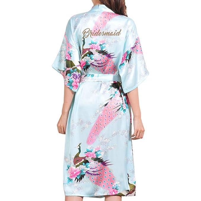 Kunfang Nueva Bata de Dama de Honor Satén Rayón Albornoz Camisón Mujeres Kimono Ropa de Formir Flor Más el Tamaño: Amazon.es: Ropa y accesorios