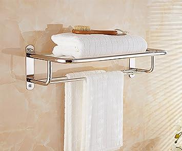 Baldas de baño Estante de Toalla, Estante de baño de Acero Inoxidable 304, Estante de baño, Estante de Toalla Doble Bathroom estantería: Amazon.es: Hogar