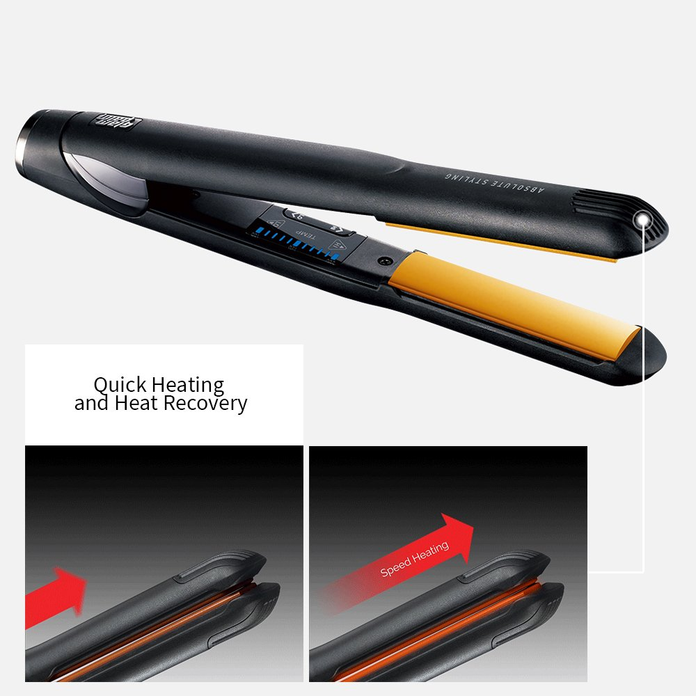 GlamPalm Volumizing Iron, 1 Hair Volumizer with Digital LCD. Classic Ceramic Coated Plates with Adjustable Temperature Straightens Curls for Smooth and Silky Hairstyle. Heats Up Instantly.