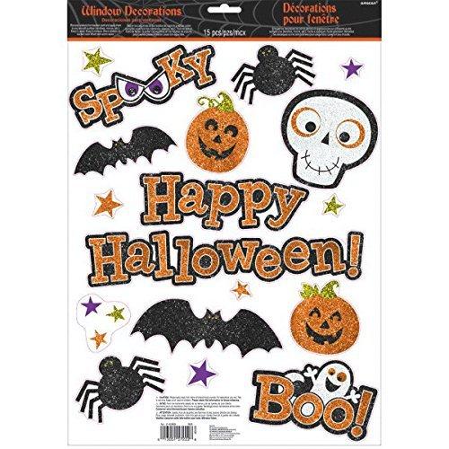 Amscan Glitter Family Friendly Halloween Vinyl Clings 15/pkg]()