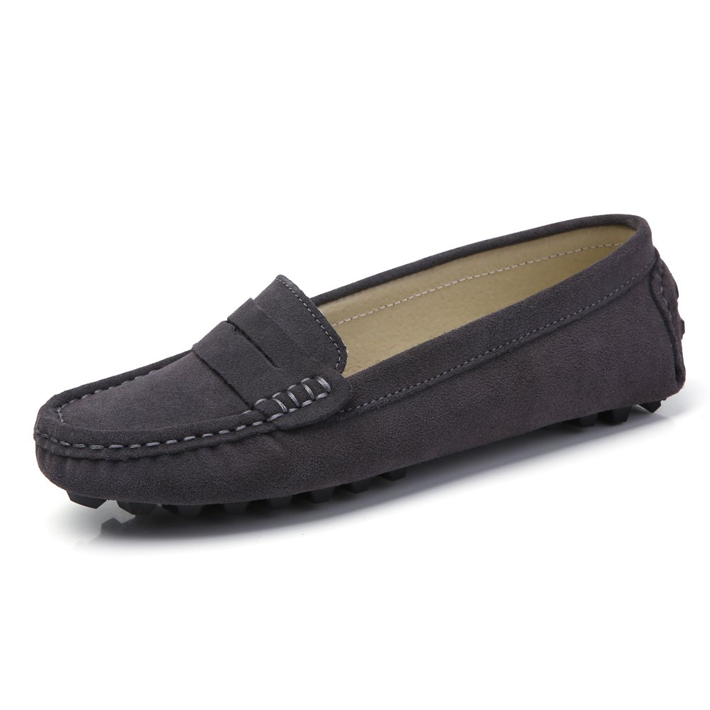 SUNROLAN 808-2hui7.5 Rebacca Women's Suede Leather Driving Moccasins Slip-On Penny Loafers Boat Shoes Flats Beluga US 7.5