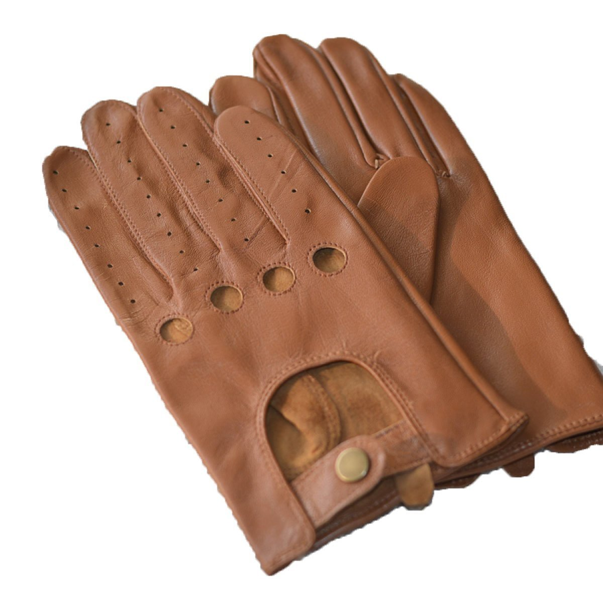 HOMEE Men'S Leather Drives Gloves Thin Repair Design Leakage Four Seasons Available,Brown,Medium