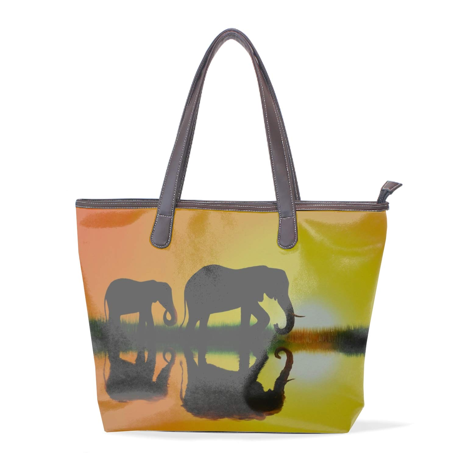 Elephant Painting Ladies Travel Weekender Overnight Carry-on Shoulder Duffel Tote Bag With PU Leather Strap