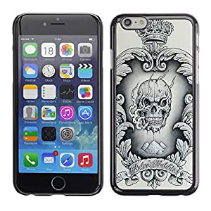 All Phone Most Case / Hard PC Metal piece Shell Slim Cover Protective Case Carcasa Funda Caso de protección para Apple Iphone 6 Crown Black White Drugs Skull Smoke