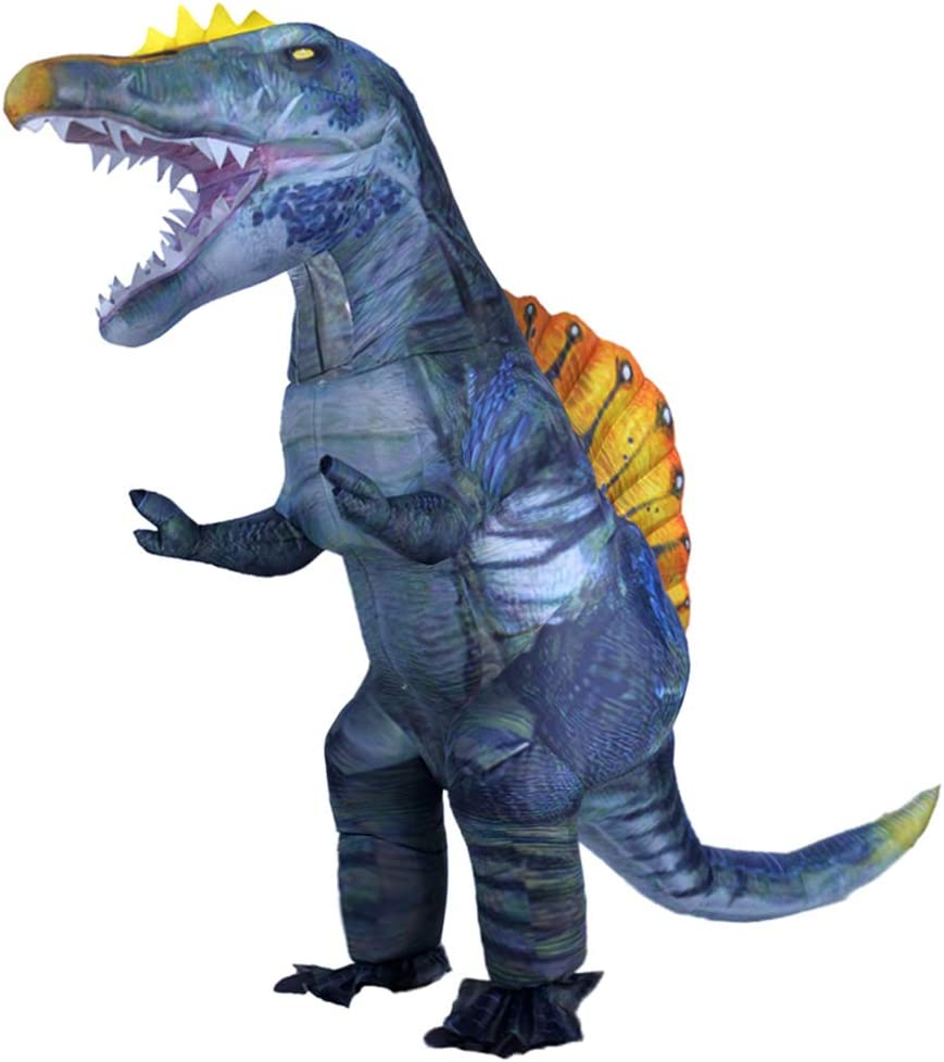 MXoSUM Newest Dinosaur Costume for Adults Inflatable Spinosaurus Costume Blow up Halloween Costumes Carnival Party Cosplay Fancy Dress