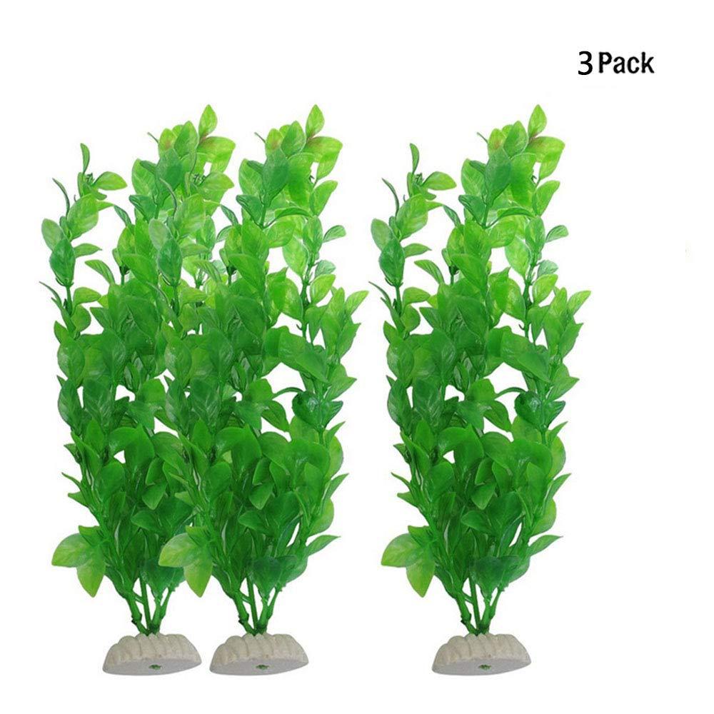 GFEU Artificiale di plastica verde piante finte acqua erba 3 pezzi per acquario decorazione ornamento decorazione