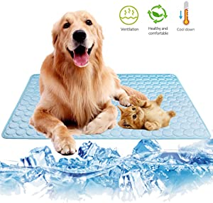 Summer Pet Cooling Mat for Dogs Cats Kennel Ice Silk Washable Mat Breathable Pet Crate Pad Cusion Sleep Mat for Carrier Bag Dog Self Cooling Mat