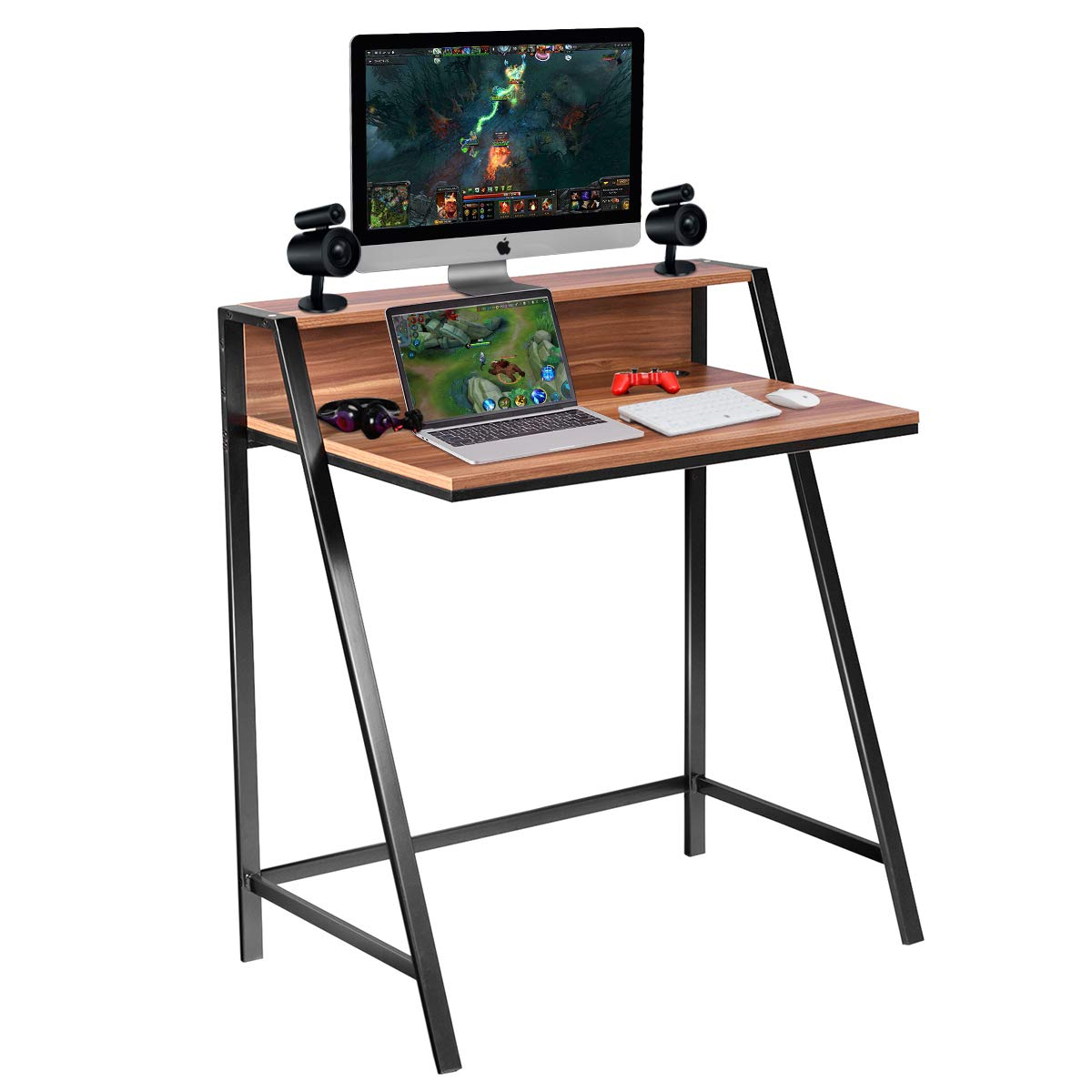 Tangkula Small Gaming Desk, 2 Tier Computer Desk, Home Office Wood Sturdy Frame Compact Writing Table for Small Place, Apartment Dom Office Furniture Sofa Bed Table, Study Writing Table by Tangkula