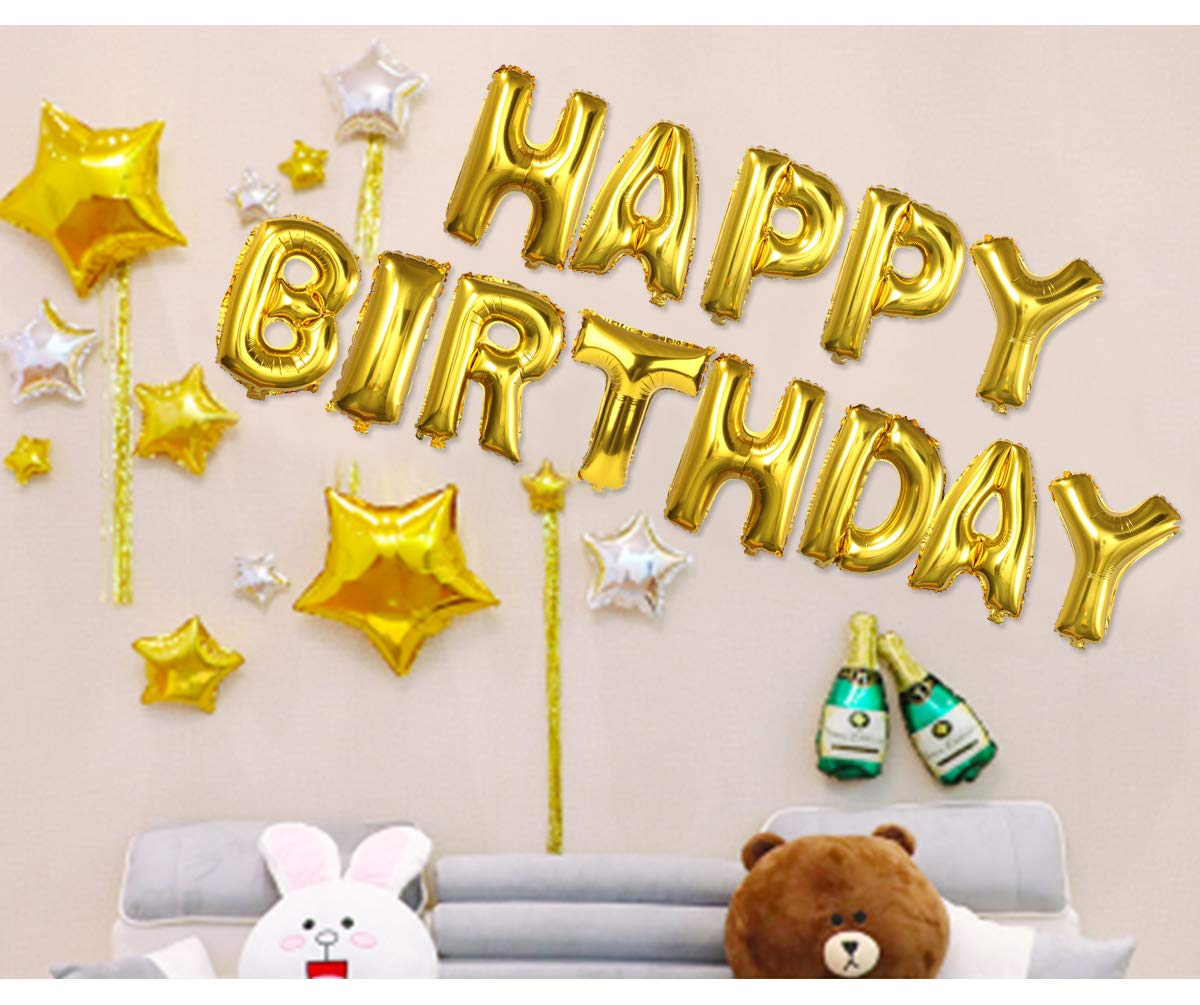 Happy Birthday Balloons, OUTGEEK Happy Birthday Banner Foil Letters ...