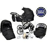 ALLIVIO - Landau pour bébé + Siège Auto - Poussette - Système 3en1, incluant sac à langer et protection pluie et moustique