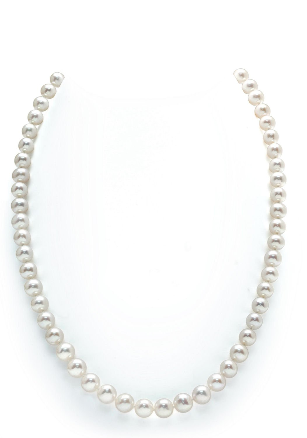 7-8mm Round White Freshwater Cultured Pearl Necklace, 20'' Matinee Length - AAA Quality