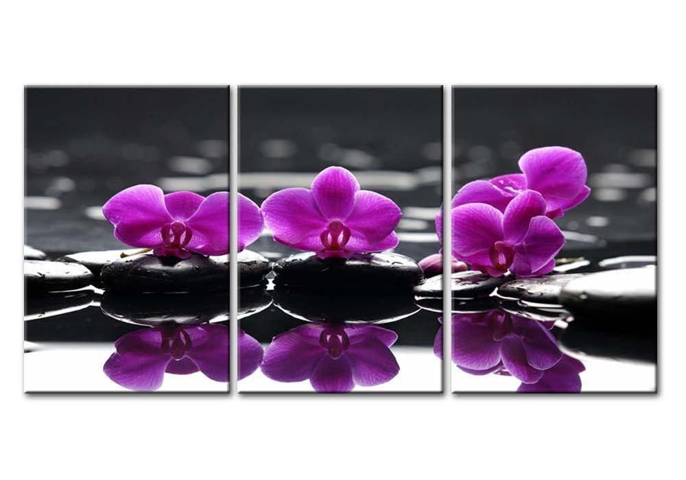 Cuadro de pared para decoración del hogar, Impresión sobre lienzo, flores de orquídeas mariposa florecientes en piedras de spa negras, bodegón de piedras ...