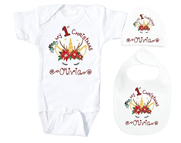 e593e154b32f Babys First Christmas Unicorn Set Beanie Bib Onesie Short Sleeve Body Suit  For Newborn Infants 0 to 6 Months Up to 13 lbs Personalized With Name Custom