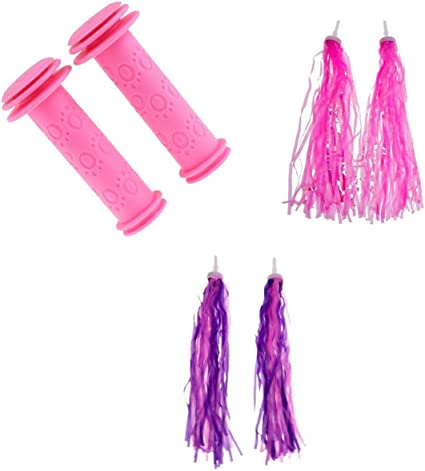 1 Pair Kids Ribbons Girls Purple Streamers Handlebar Tricycle Bike Tassels
