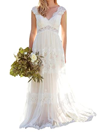 O D W Frauen Spitze Lange Rustikale Brautkleider Vintage