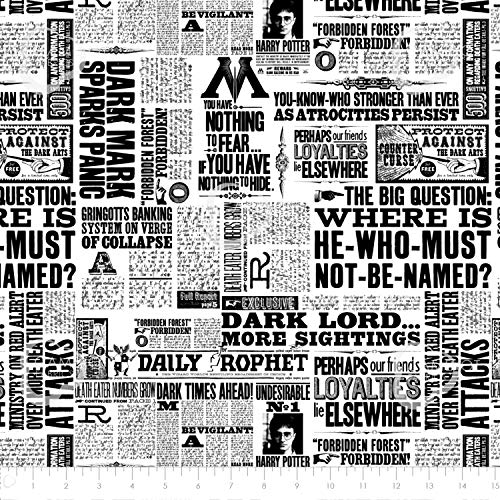 (Harry Potter Fabric Wizarding World News Print, Precut 1, 2 or 3 yd. Sections Cotton Licensed by Warner Bros. for Sewing, Quilting, Crafts, Home Decor (1)