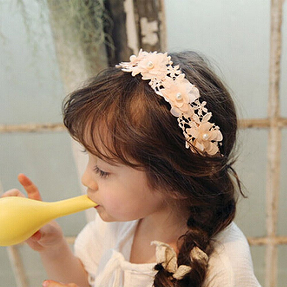 Butterme Children Girls Sweet Lace Ribbon Flower Headband with Faux Pearl Hair Band Headdress Hair Accessory Pink
