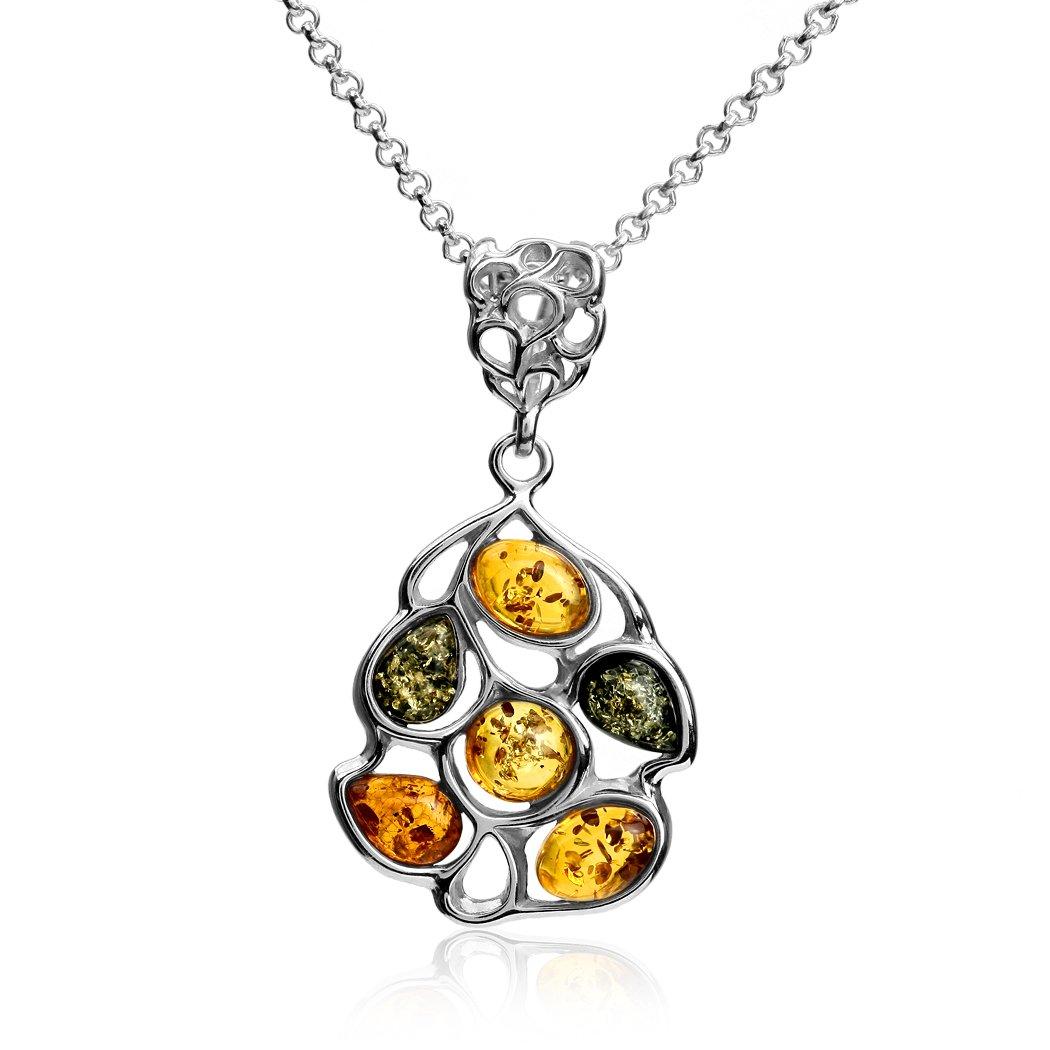 Multicolor Amber Sterling Silver Drops Pendant Necklace Chain 18
