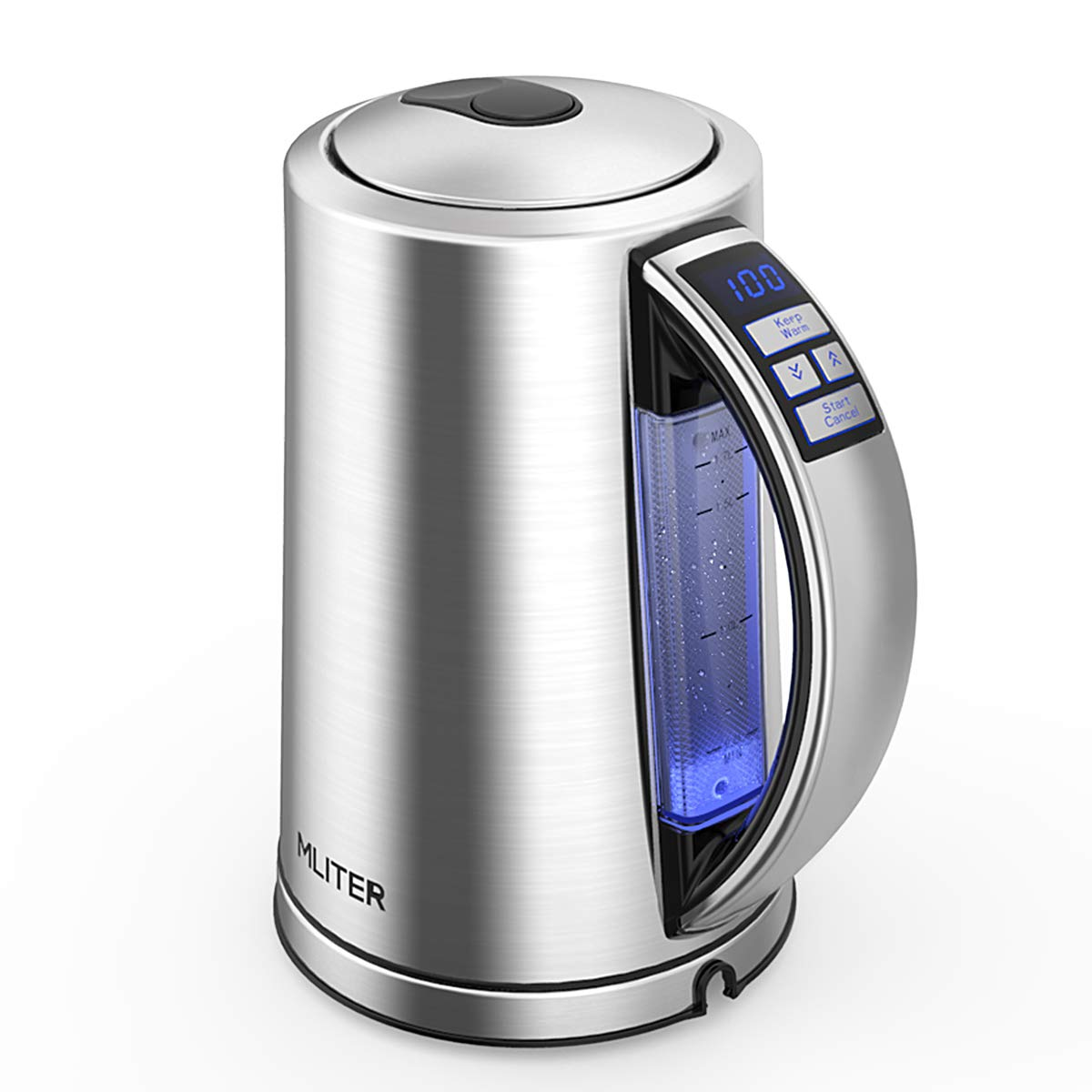 MLITER Cordless Electric Kettle Water Boiler and Warmer with Strix Temperature Control, Led Display and Color Changing Indicator for Milk, Tea and Coffee - BPA Free, 1500W / 1.7L