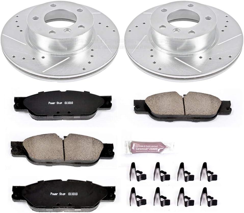 Power Stop K6346 Front Brake Kit with Drilled//Slotted Brake Rotors and Z23 Evolution Ceramic Brake Pads