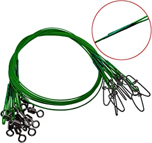 """Unclesport 30 PCS Stainless Steel Fishing Wire Leader Line,19.68""""/150Lb Heavy Duty Tooth Proof Fishing Leader Line with Rolling Swivels Insurance Snap Connect Tackle Lures Rig or Hooks"""