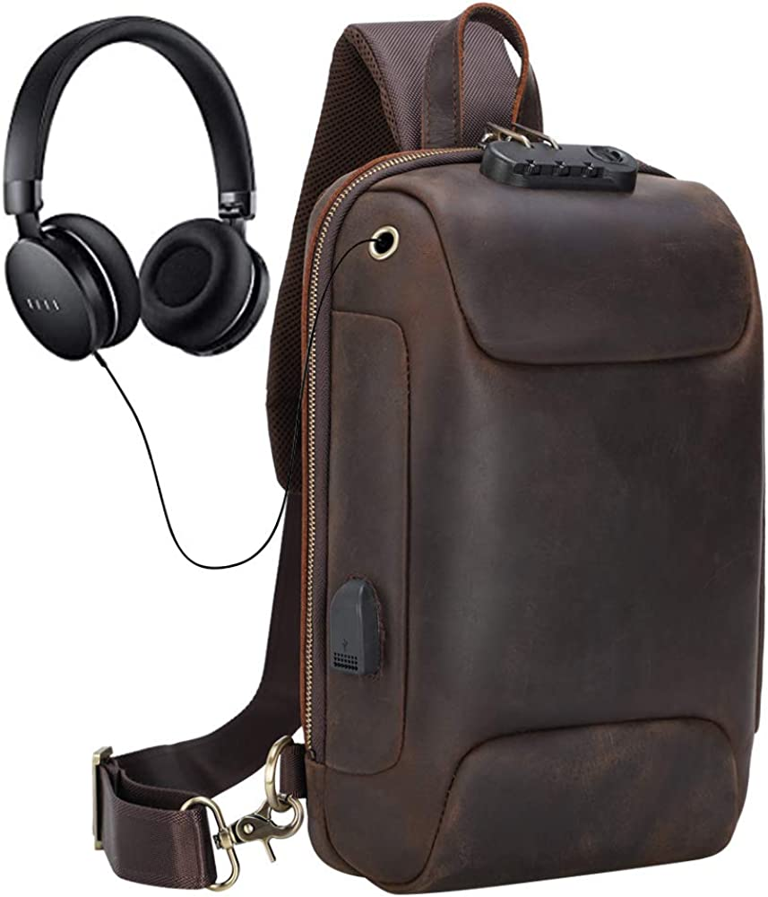 Genuine Leather Sling Bag for Men Anti-theft One Strap Crossbody Chest Shoulder Backpack with USB Fits 11 Inch Tablet