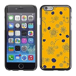 TopCaseStore / la caja del caucho duro de la cubierta de protección de la piel - Navy Blue Orange Drawing Birds - Apple iPhone 6 Plus 5.5