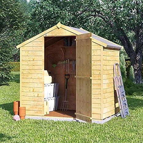 Cobertizo de madera superpuesta con tejado a dos aguas y puerta doble, de BillyOh, para el jardín, 122 x 244 cm: Amazon.es: Jardín